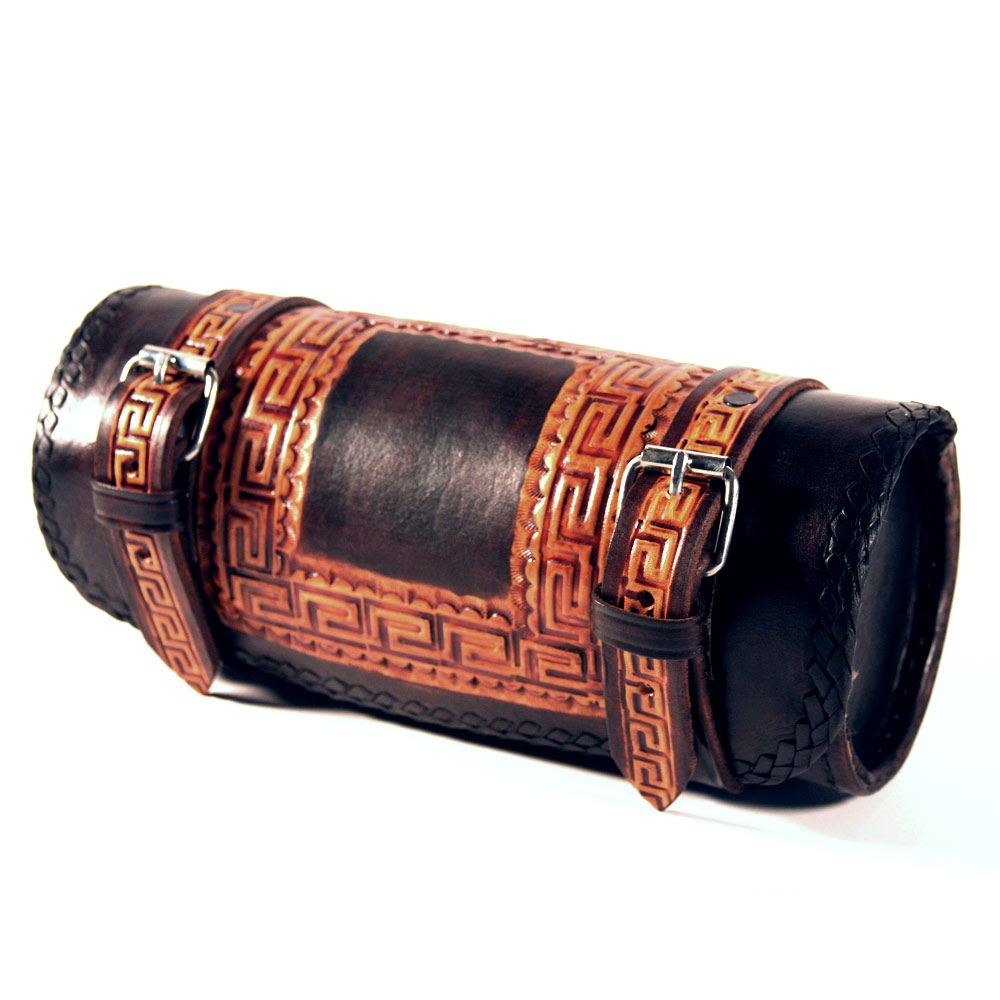Viclista Round Leather Tool Bag by Raa Leather (black / brown, greca)