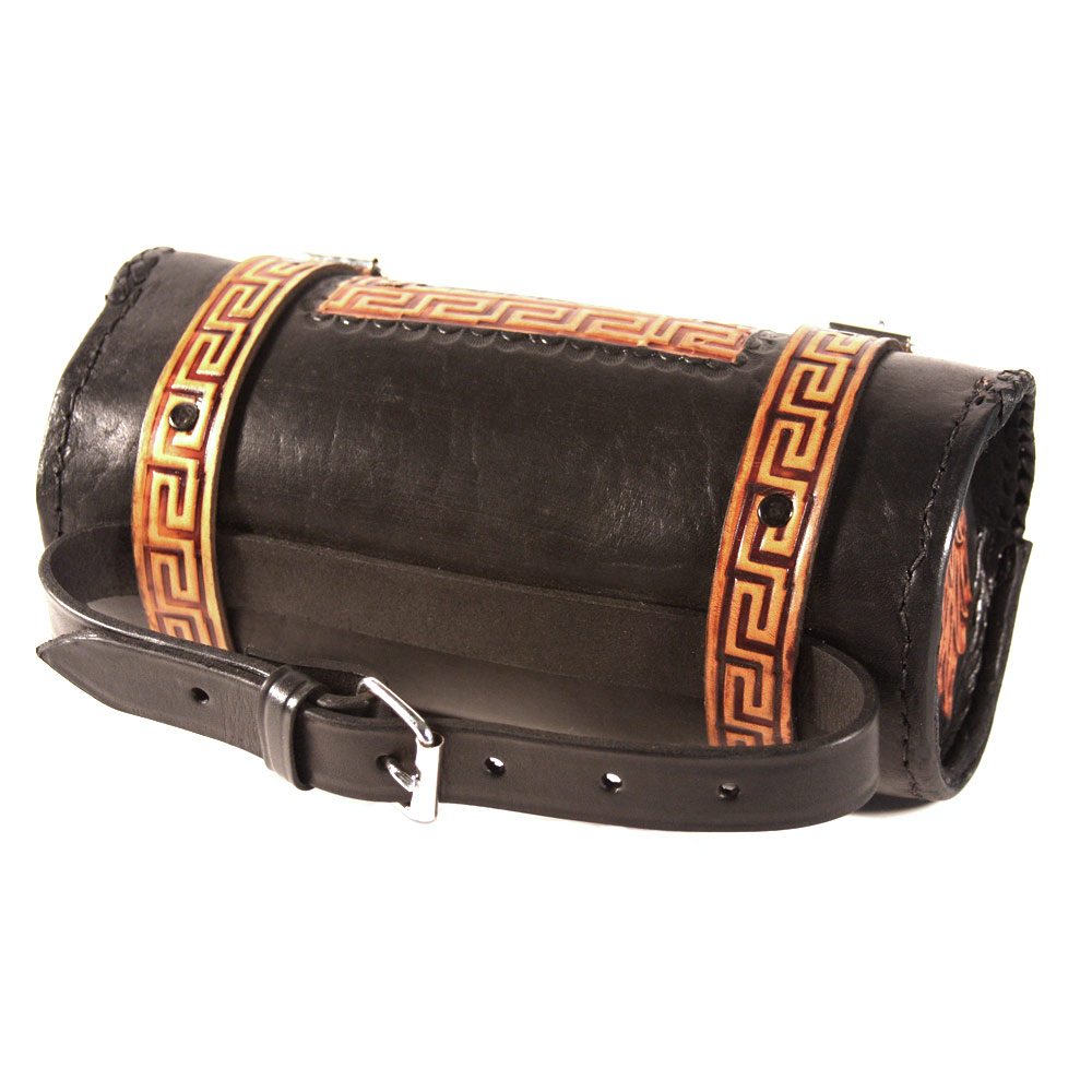 Viclista Round Leather Tool Bag by Raa Leather (black / tan, indio / greca)